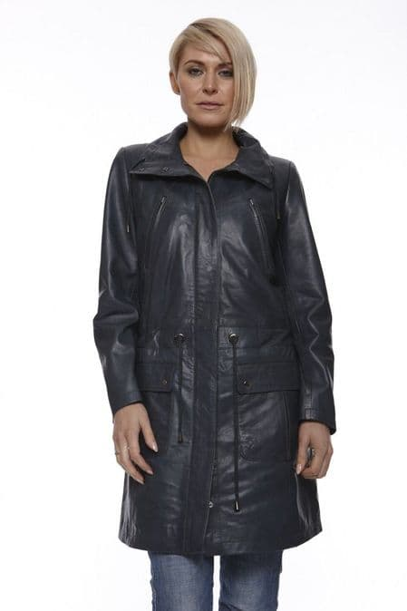 Womens Leather Coat in Black:CW